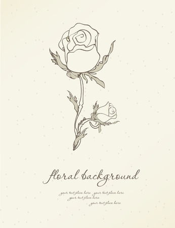 Vintage greeting card with white rose on grey background