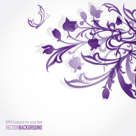 花の背景。レトロなスタイルでベクトル カード