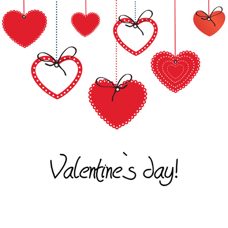 valentine s card: Vintage valentine card with cute hearts  Illustration