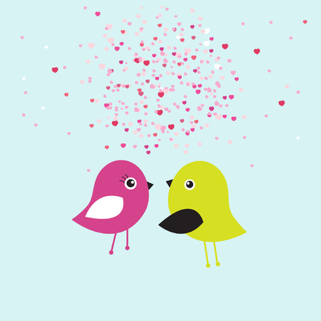 retro design elements: Cute valentine`s card with birds couple in love  Illustration