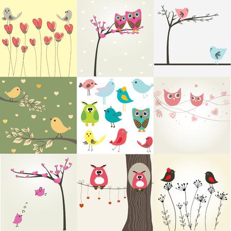 かわいい鳥と 9 のバレンタイン カードを設定します。  イラスト・ベクター素材