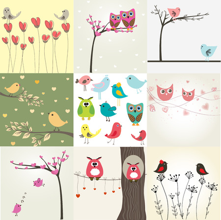 cute cards: Set of 9 valentines cards with cute birds