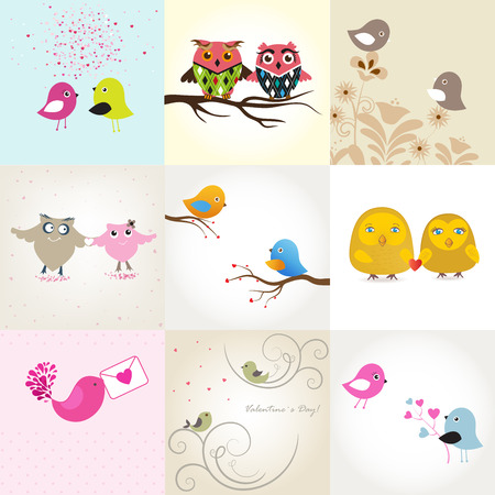 Set of 9 valentines cards with cute birds couples Stock Vector - 9287420