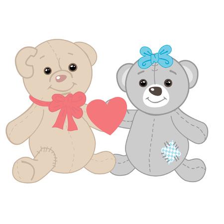 Cute bears couple. Valentines card  Vector