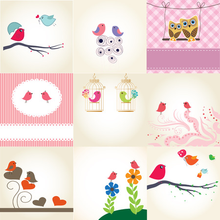 Cute valentine`s card with birds couple in love  Illustration