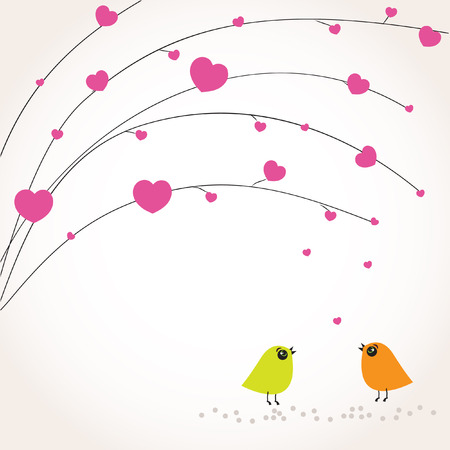 Cute valentine`s card with birds couple in love Stock Vector - 8877663