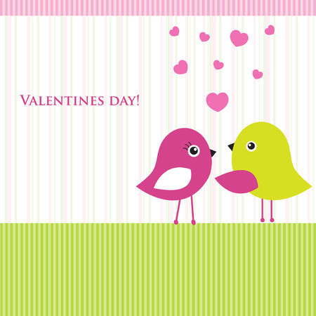 Cute valentine`s card with birds couple in love  Ilustração