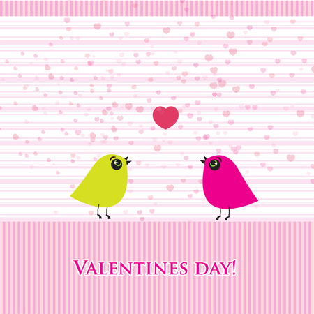 Cute valentine`s card with birds couple  Vector