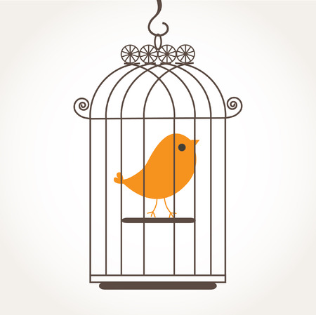 Cute alone bird in the birdcage.  Vector