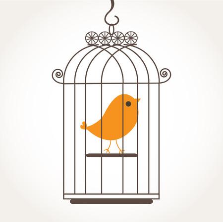 Cute alone bird in the birdcage.  Illustration
