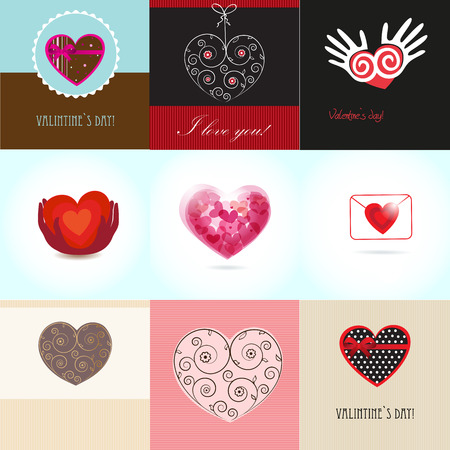 Vector cards set with valentines hearts