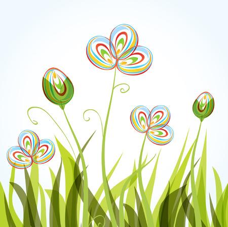 カラフルな春の花の背景  イラスト・ベクター素材