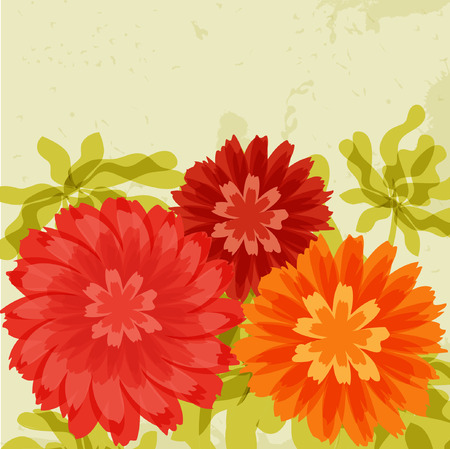 Red and orange chrysanthemums on grunge background Stock Vector - 9078151