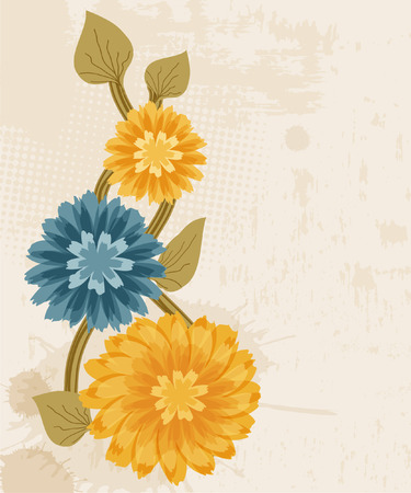 Grunge yellow and blue flowers  Vector