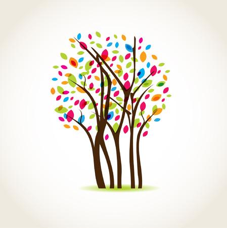 カラフルな春木  イラスト・ベクター素材