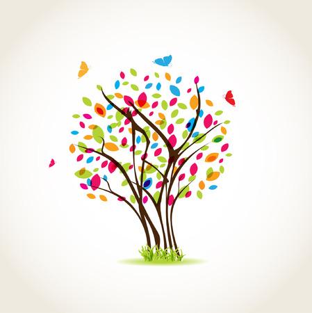 蝶と色とりどりの美春木を残す  イラスト・ベクター素材