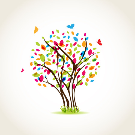Beauty spring tree with butterflies and multicolored leave Vector