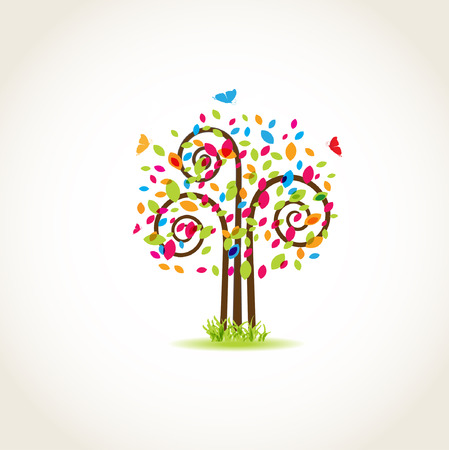 Beauty spring tree with butterflies and multicolored leaves  Illustration
