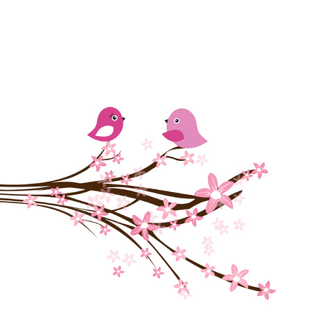 Cute easter card with two birds on the cherry tree  Ilustração