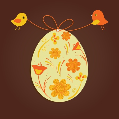 Easter egg with birds couple Vector