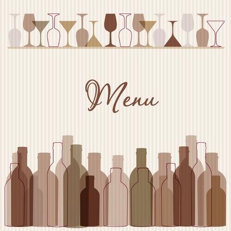 Restaurant-Menühintergrund mit Wein Flaschen und Gläser Illustration