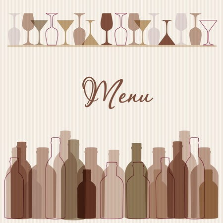 bar menu: Restaurant menu background with wine bottles and glasses Illustration