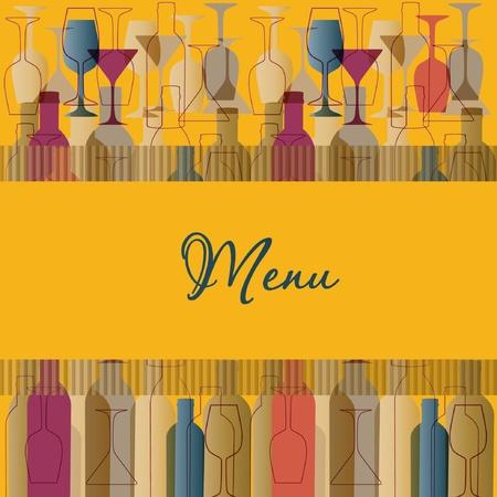 Restaurant menu background with wine bottles and glasses Illustration