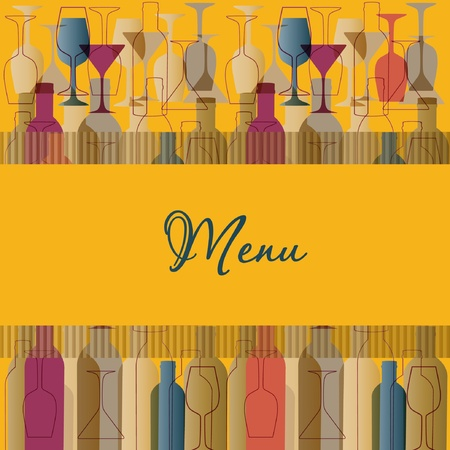 martini: Restaurant menu background with wine bottles and glasses Illustration