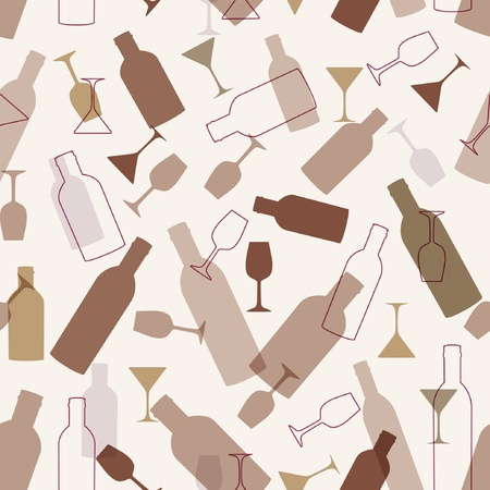 vermouth: Seamless background with wine bottles and glasse Illustration