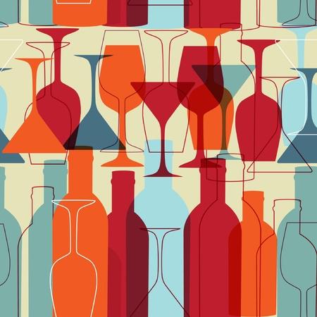 シームレスな背景にワインのボトル、ガラス