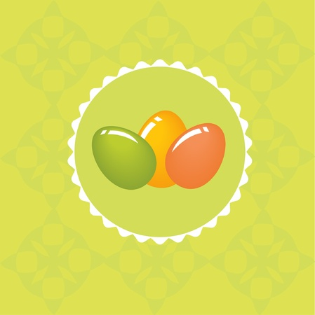 Easter card with multicolored eggs Vector