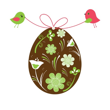 Two birds holding easter egg Vector