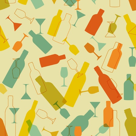 wine dinner: Vintage seamless background with wine bottles and glasses