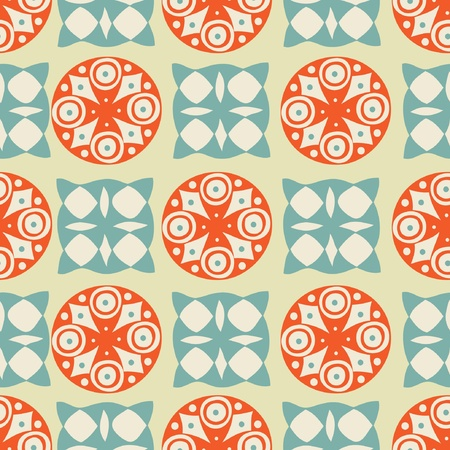 Vintage seamless background with circles and squares