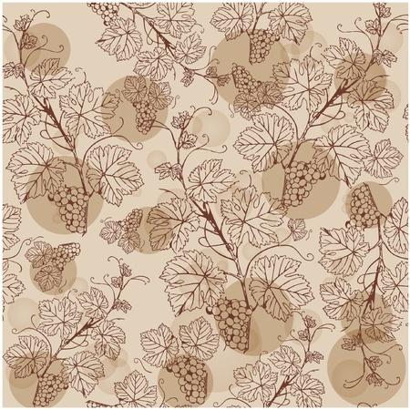 ブドウの枝とのシームレスなパターン