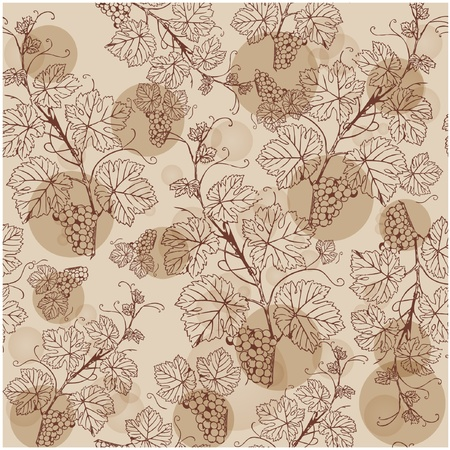 grape leaves: Seamless pattern with grape branches