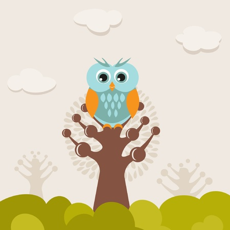 Cute owl on the tree Stock Vector - 9306491