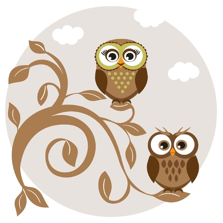 Cute owls couple on the tree  Vector