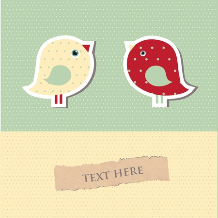 serenade: Two cute birds on the love date.  Illustration
