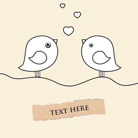 可愛い 2 鳥の愛の日に。  イラスト・ベクター素材