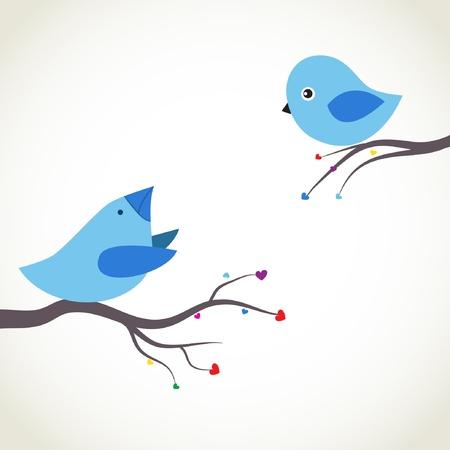 Deux oiseaux mignons sur la date. Amour