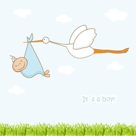 cigogne: Carte d'arriv�e de b�b� avec la cigogne qui apporte un gar�on mignon Illustration