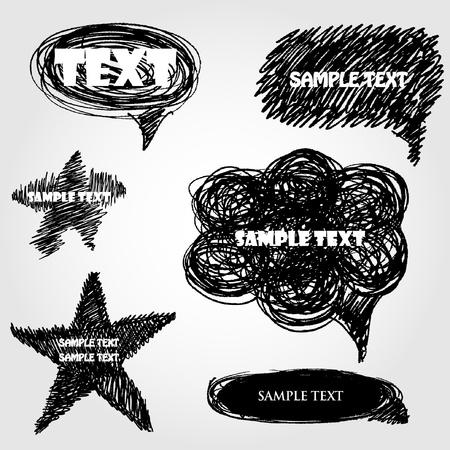 Set of hand drawn vector speech bubbles