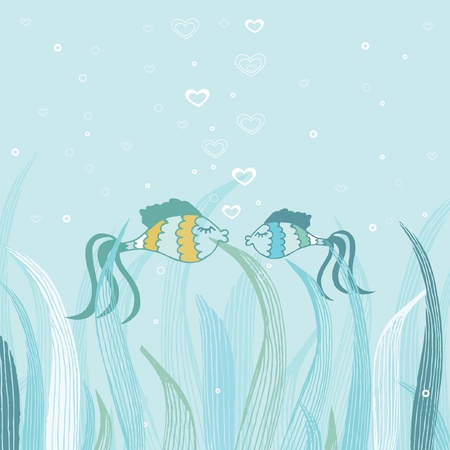 Fish couple in love. Cute vector card  Vector
