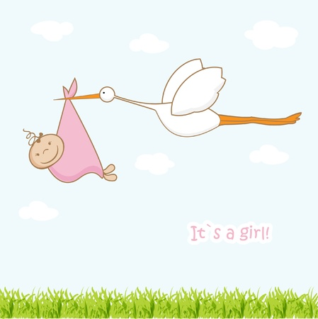 Baby arrival card with stork that brings a cute girl  Ilustracja