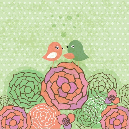 Cute birds couple on the flowers. Vintage vector card Фото со стока - 10314112