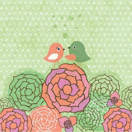 Cute birds couple on the flowers. Vintage vector card