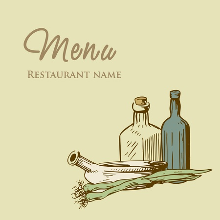 Vintage restaurant menu design with hand drawn illustration of pan onion and wine bottles  Vector