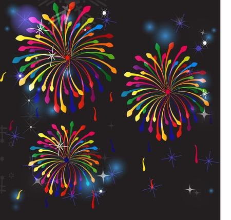 Vector fireworks in the night sky. Stock Vector - 10305745