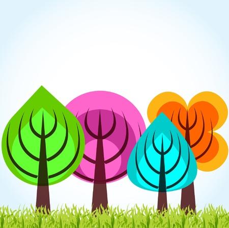 kassen: Vier seizoen bomen begrip Stock Illustratie